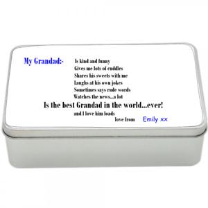personalised tin memory tin memories storage keepsake sweets Grandad/'s Tin