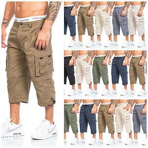 Herren-Shorts-Freemen-Bermuda-Cargo-Capri-Kurze-Hose-Vintage-Short-Casual-3-4