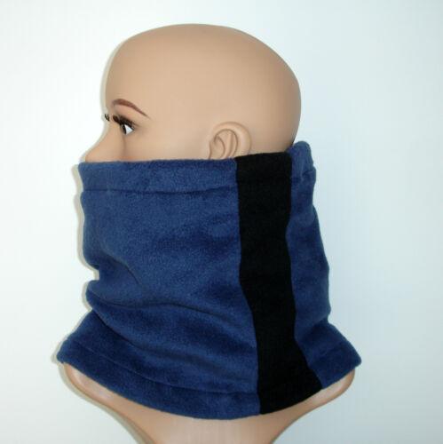 Neckwarmer mens ladies NAVY BLUE BLACK fleece scarf snood tube neck warmer ski