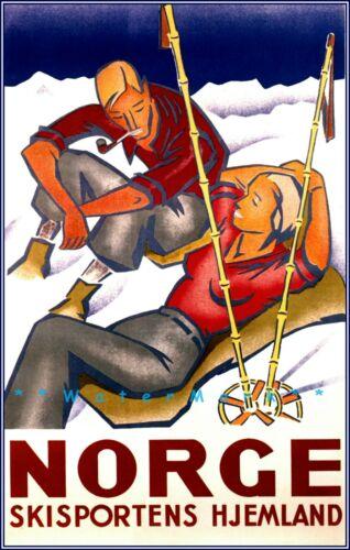 Ski Norway Norge Skisports Homeland Vintage Poster Print Retro Style Travel Art
