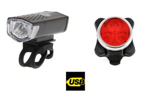 Rechargeable par USB Vélo Feux Kit Lot Frontal et Arrière 3 Led - Tête Feu