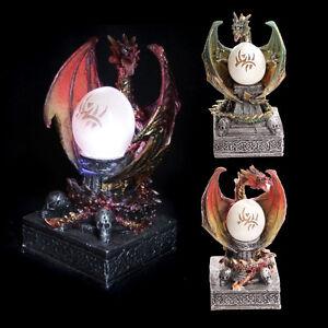 Dunkle-Legenden-Drache-mit-Ball-LED-Licht-auf-Sockel-DRAGON-15-5cm-Mystik-Gothic