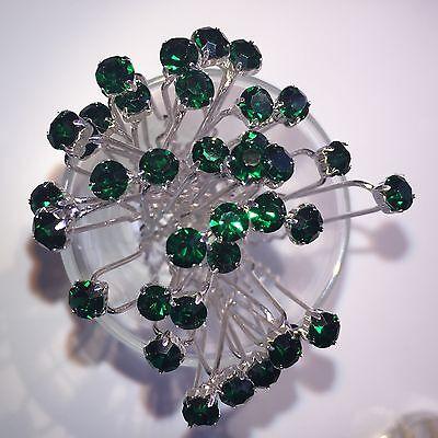 6 Matrimonio Prom Cristallo Diamante Verde Scuro Clip Capelli Pin Grip- Garanzia Al 100%