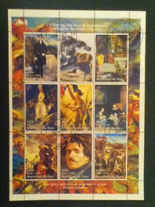 paintings- Eugene Delacroix Rep.de Niger 1998 Nice M/s Used 9 Stamps Reasonable Price