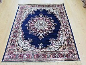 Traditional-Rug-Navy-Silk-Like-Machine-Washable-Living-Room-BedRoom-Carpet-Rugs