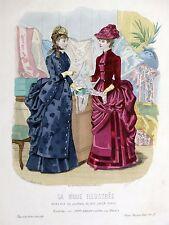 Grande Gravure Mode Couleur LA MODE ILLUSTRÉE 25X36 Bréant-Castel TOUDOUZE 1883