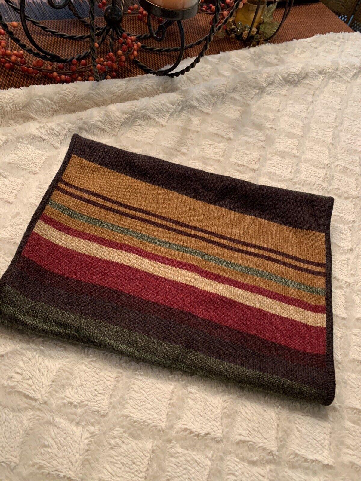 Oscar de la Renta Wool Neck Scarf Gray Brown Red Yellow Green Multi Stripe