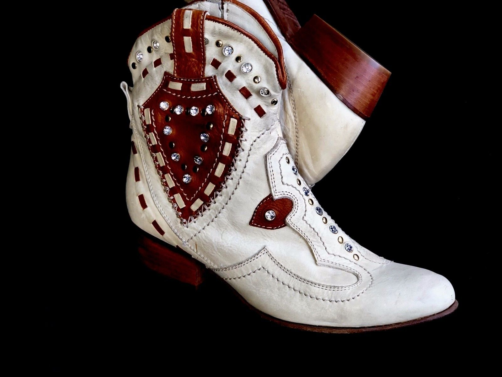 El Vaquero Designer Valerio Giuntoli Rhinestones Studded Cowgirl Ankle Stiefel 6M