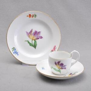 Meissen-Schwanenhalshenkel-3tlg-Kaffeegedeck-Blume-1-Tulpe-Teller-Tasse-UT