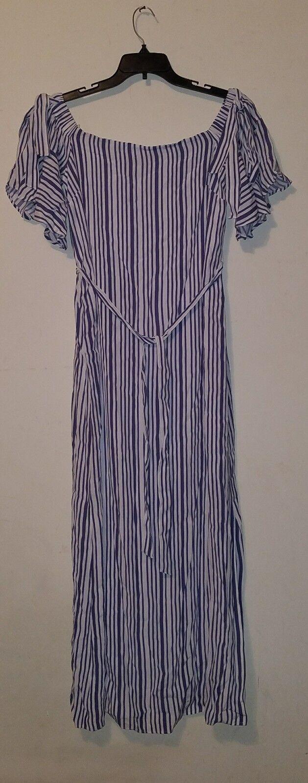 NWT Banana Republic Off-the-Shoulder Stripe Maxi Dress Blau  sz L