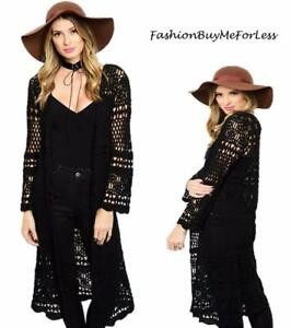Western-Boho-Hippy-Open-Front-Eyelet-Crochet-Knit-Long-Sweater-Cardigan-S-M-L-XL