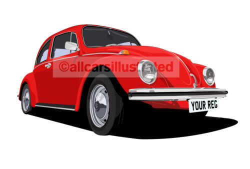 VW BEETLE GRAPHIC CAR ART PRINT PICTURE (A4 PRINT). PERSONALISE IT!