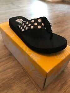 Yellow-Box-Zadie-Black-Polka-Dot-Flip-Flop-NIB-Choose-Size