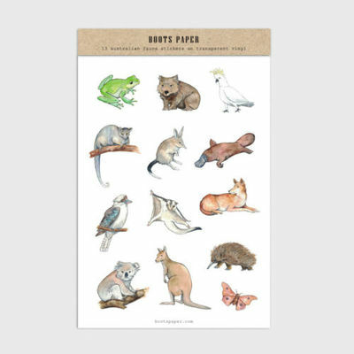 NEW Australian Fauna Sticker Set - Illustrated Transparent Stickers by Boots Pap