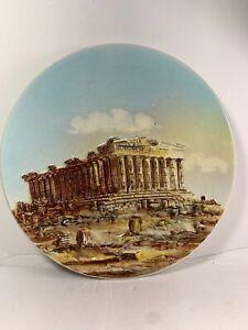 Vintage-Greek-Parthenon-Columns-8-3Dimensional-Plate-Greece-Crazing-Athens