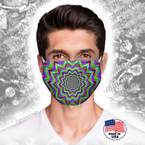 Abstract-optical-illusion-face-mask-Party-Rave-Washable-amp-Reusable-Free-Shipping