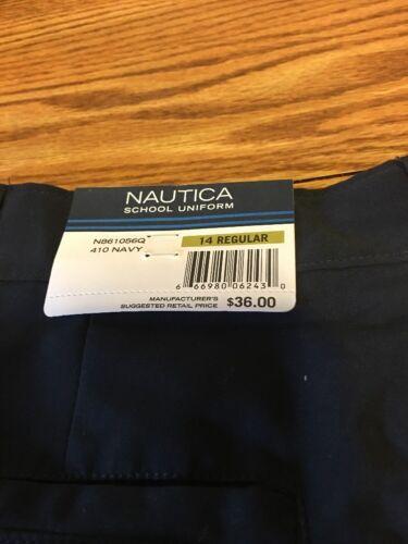NWT Boy Nautica Uniform Shorts Moistire Wicking Adjust Waist  Sz 14 Navy Blue
