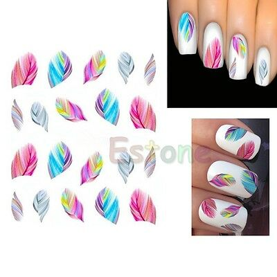 1/5/10/20/50 Watermark Decal Sticker Colorful Feather Rainbow Dream Nail Art Tip