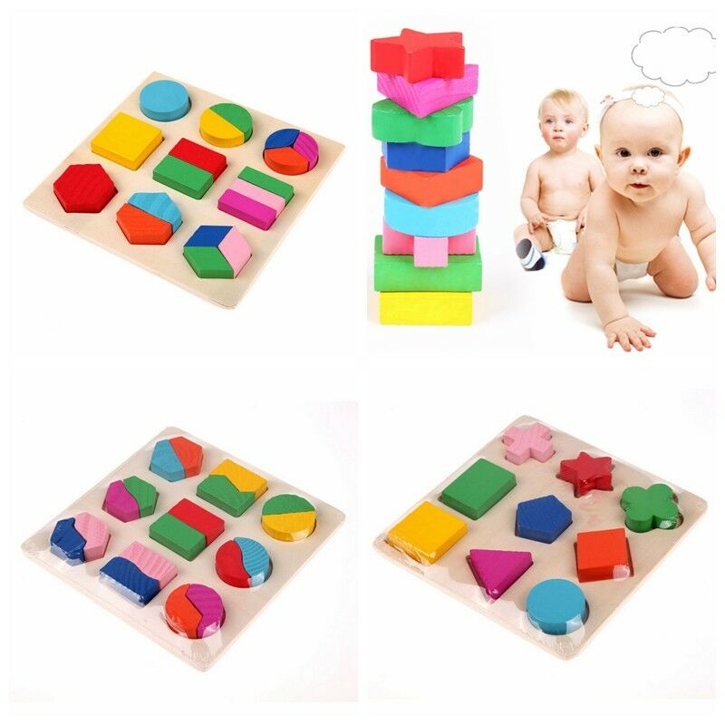 Baby Kids Baby Wooden Learning Geometry Educational Toys Cartoon Puzzle Montessori