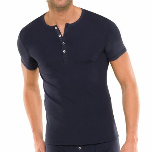 Schiesser Uomo Natura Ragazzo Bottone T-shirt costola 4 5 6 7 8 Blu Grigio Nuovo
