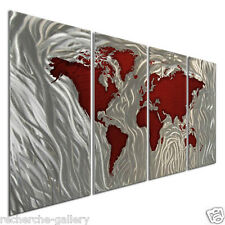 Metal Wall Sculpture by Ash Carl Abstract World Map Art Red Silver ...