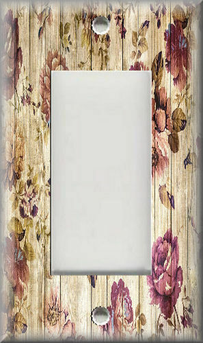 Metal Light Switch Plate Cover Shabby Chic Decor Wood Planks With Roses Design