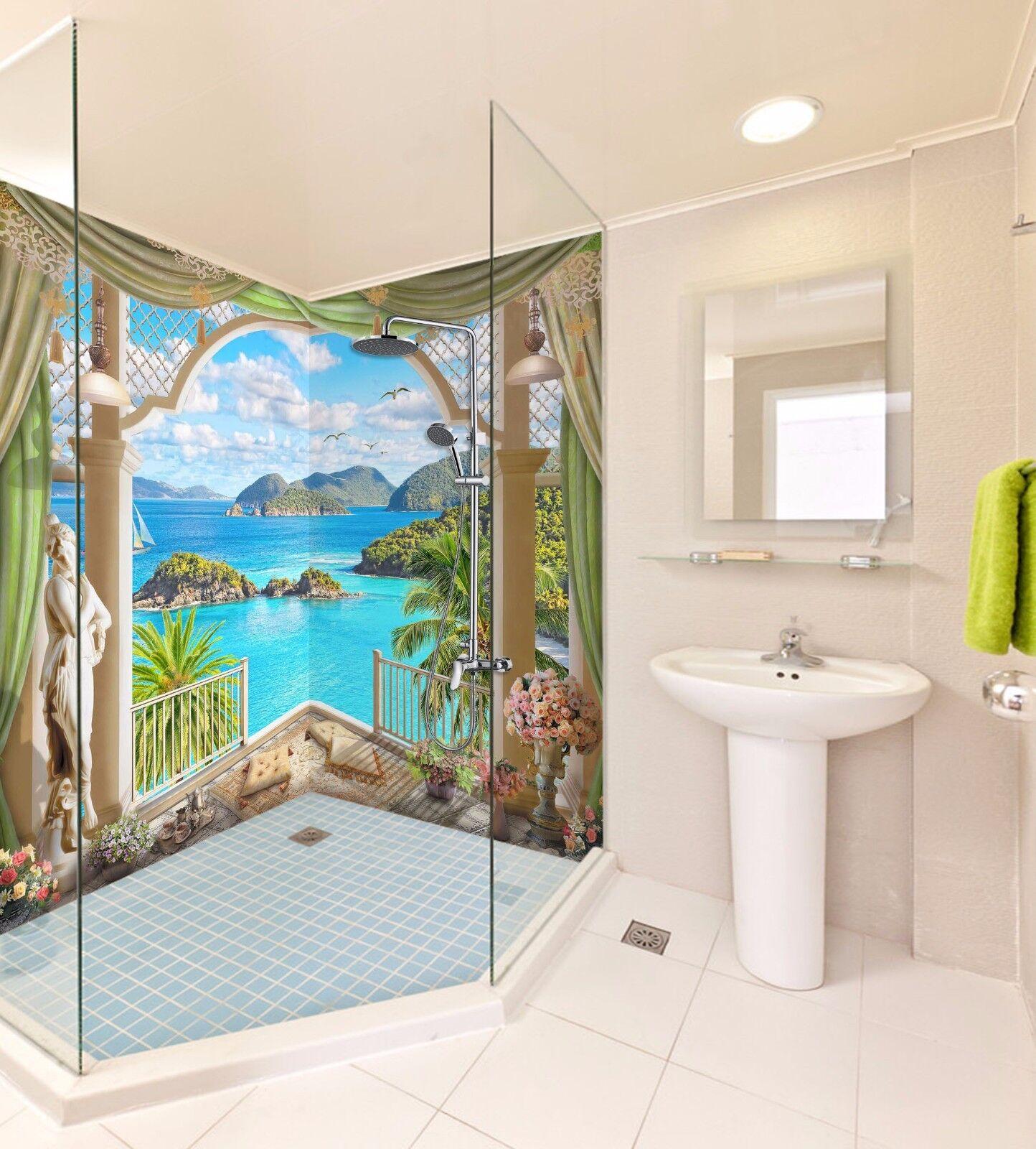 3D Balcony sea 466 WallPaper Bathroom Print Decal Wall Deco AJ WALLPAPER UK
