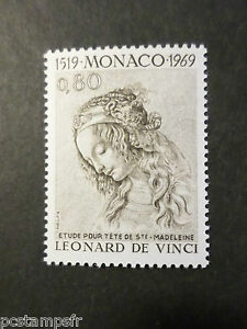 Mon ChéRi Monaco 1969, Timbre 802, Leonard De Vinci Tableau Sainte Madeleine Neuf** Mnh