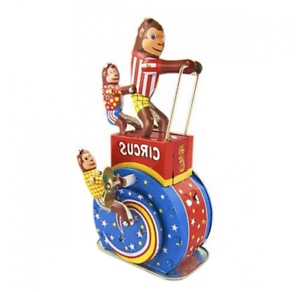 Circus-Monkey-Tin-Toy-Wind-Up-Tin-Toy-Collectors-toy-Vintage-Style