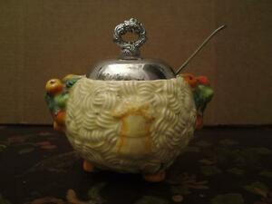 Clarice-Cliff-Newport-pottery-pot-amp-metal-lid-CELTIC-HARVEST-free-spoon-perfect