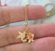 Coleman 10K Black Hills Gold HUMMINGBIRD 3D Flower Pendant 14K GF Necklace