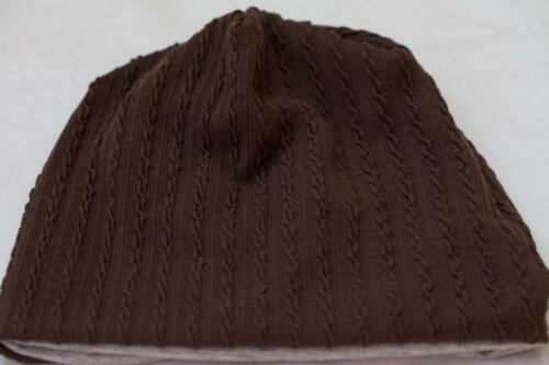 Baby Slouchy Beanie Soft Cable Knit in DARK BROWN lined with GREY ~ Fast Ship!