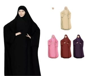 Hooded Muslim Women Prayer Dress Robe Hijab Abaya Khimar Jilbab Kaftan Overhead Ebay