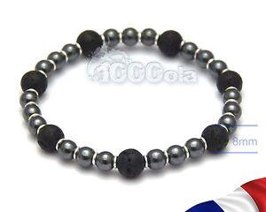 Bracelet Exclusif 1000ola Pour Homme/men's Perles De Lave Volcanique + Hematite Nwwyepd3-07234716-656067940