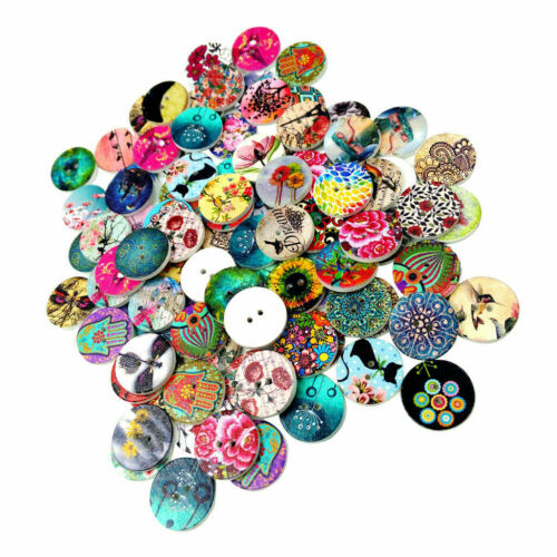 Craft Scrapbooking Wooden Buttons Mixed for Sewing DIY 100pcs 2 Holes 20mm