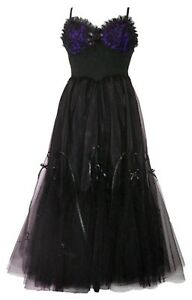 Dark Star Gothic Black Purple Hard Tulle Ribbon Lace Ball Gown Dress
