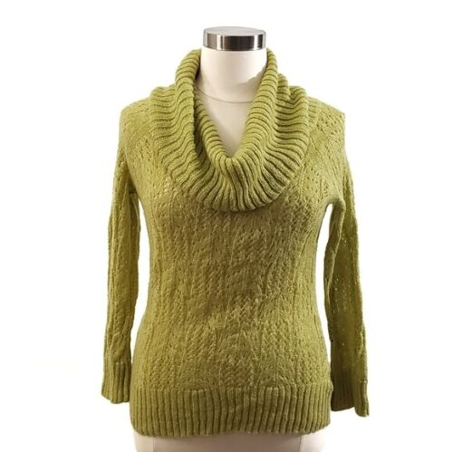 ELLE cowl neck sweater Apple Green Metallic Thread