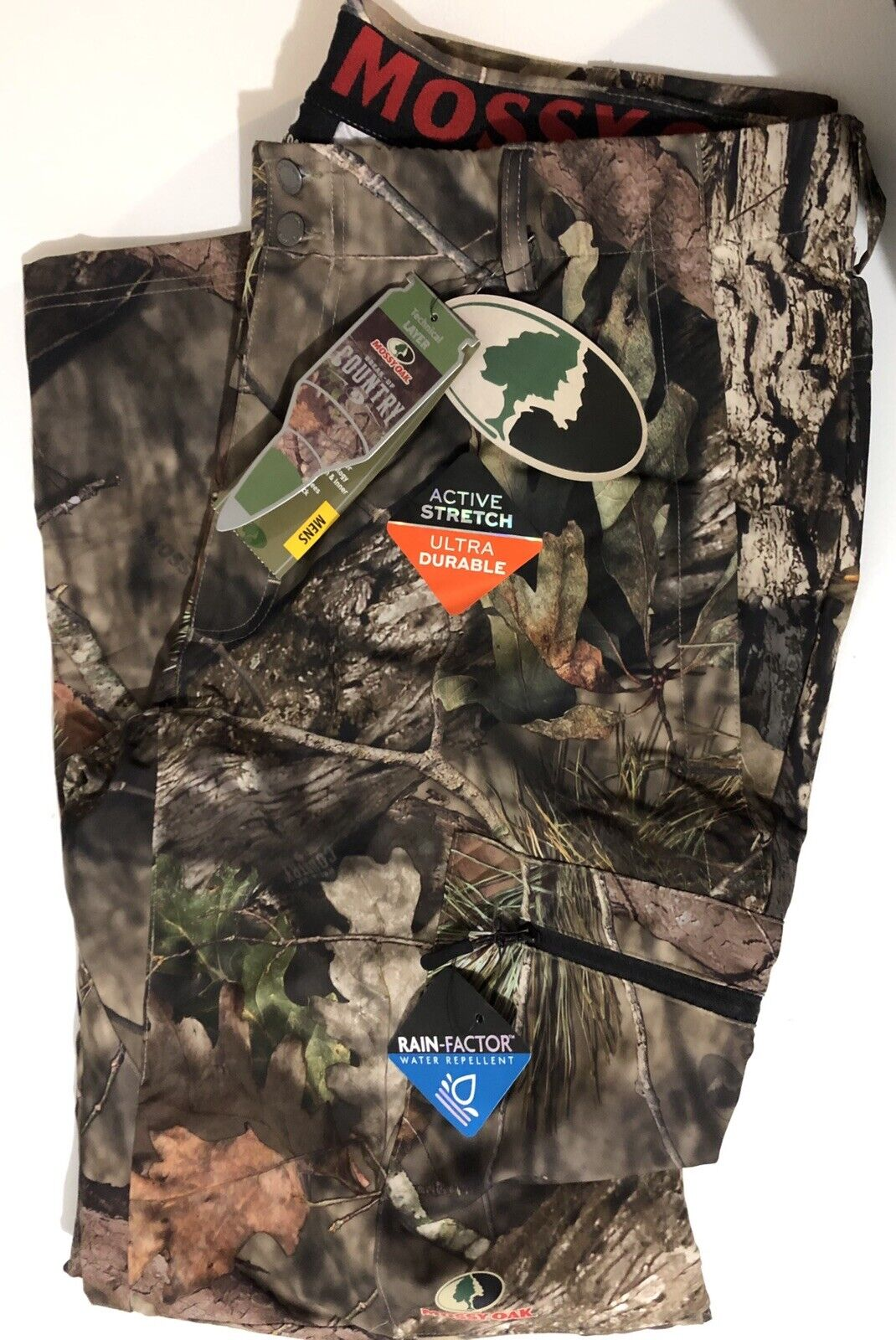 Men's Mossy Oak Break-Up Country Rain-Factor  Perform. Pants Size XL, 2XL or 3XL  buy 100% authentic quality