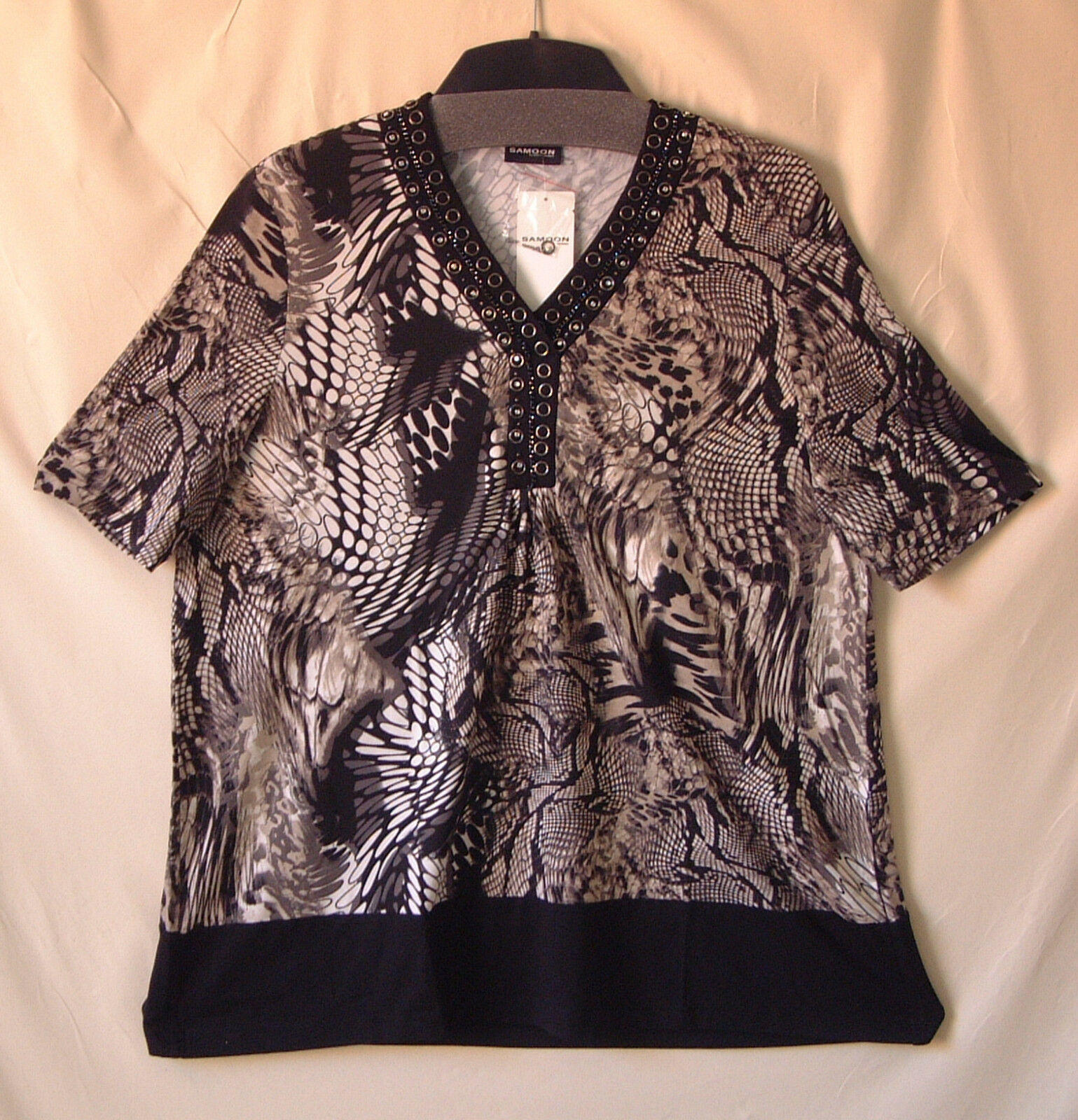 Samoon Shirt Gerry Weber Longshirt Viskose-Stretch kurzarm Neu Damen Gr.