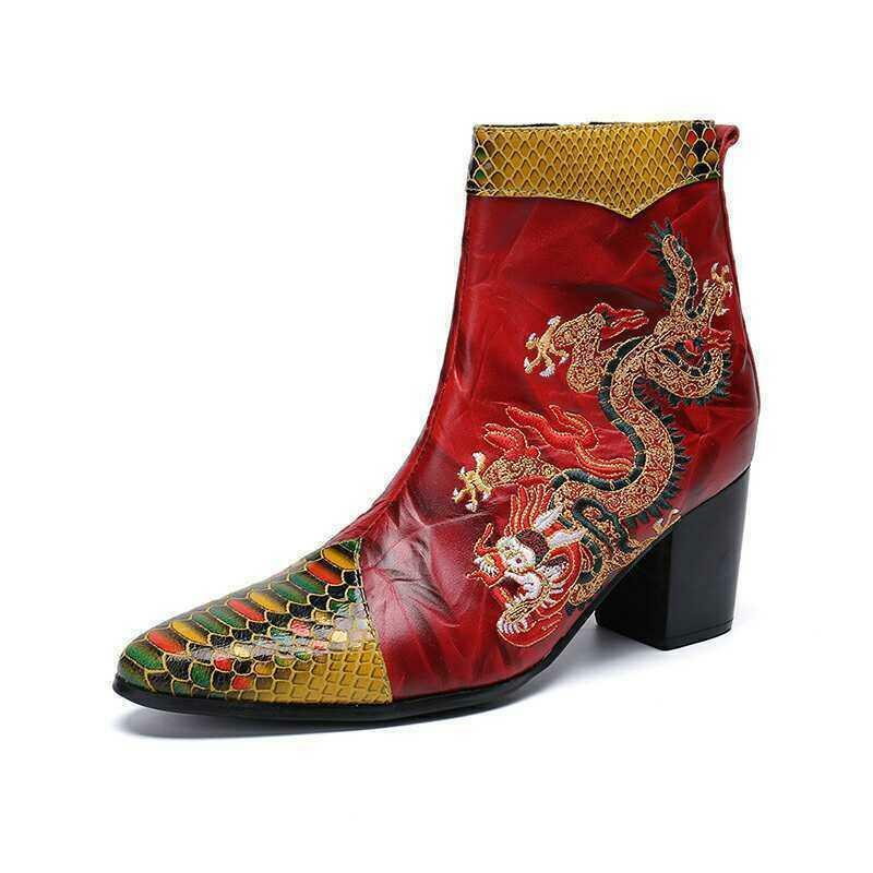 Men Leather Business Punk Embroidery Cuben Heel Knight Ankle Boot Formal shoes