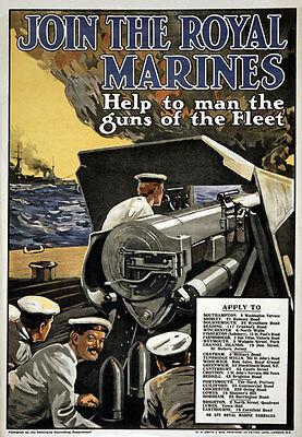 W98 Vintage WWI British Royal Marines War Recruitment Poster WW1 Re-Print A4
