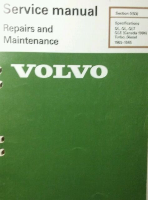 Volvo 240 Service Manual Specifications 1983