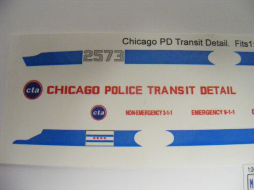 Chicago Police Transit Detail CTA 1:24 Water Slide Decals Fits Motormax SUV