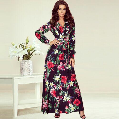 Women high waist maxi V-neck Bandage Floral Print Long Sleeve Loose sashes Dress