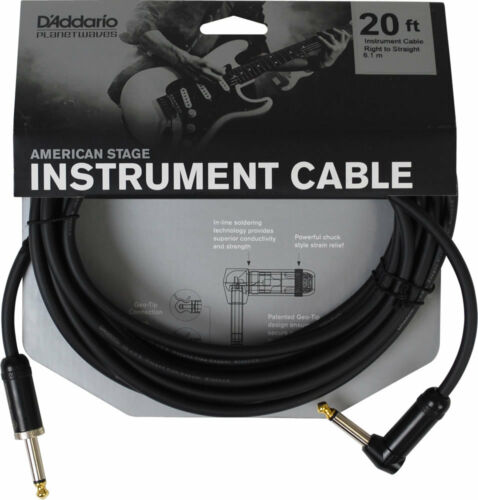 RIGHT ANGLE PLUG PLANET WAVES PW-AMSGRA-20  AMERICAN STAGE 20/' INSTRUMENT CABLE