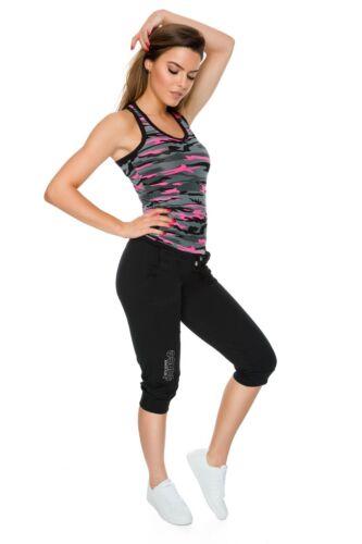 Damen Capri Active Sports Kordelzug Hose Taschen Dehnbar 3//4 Leggings FS1108