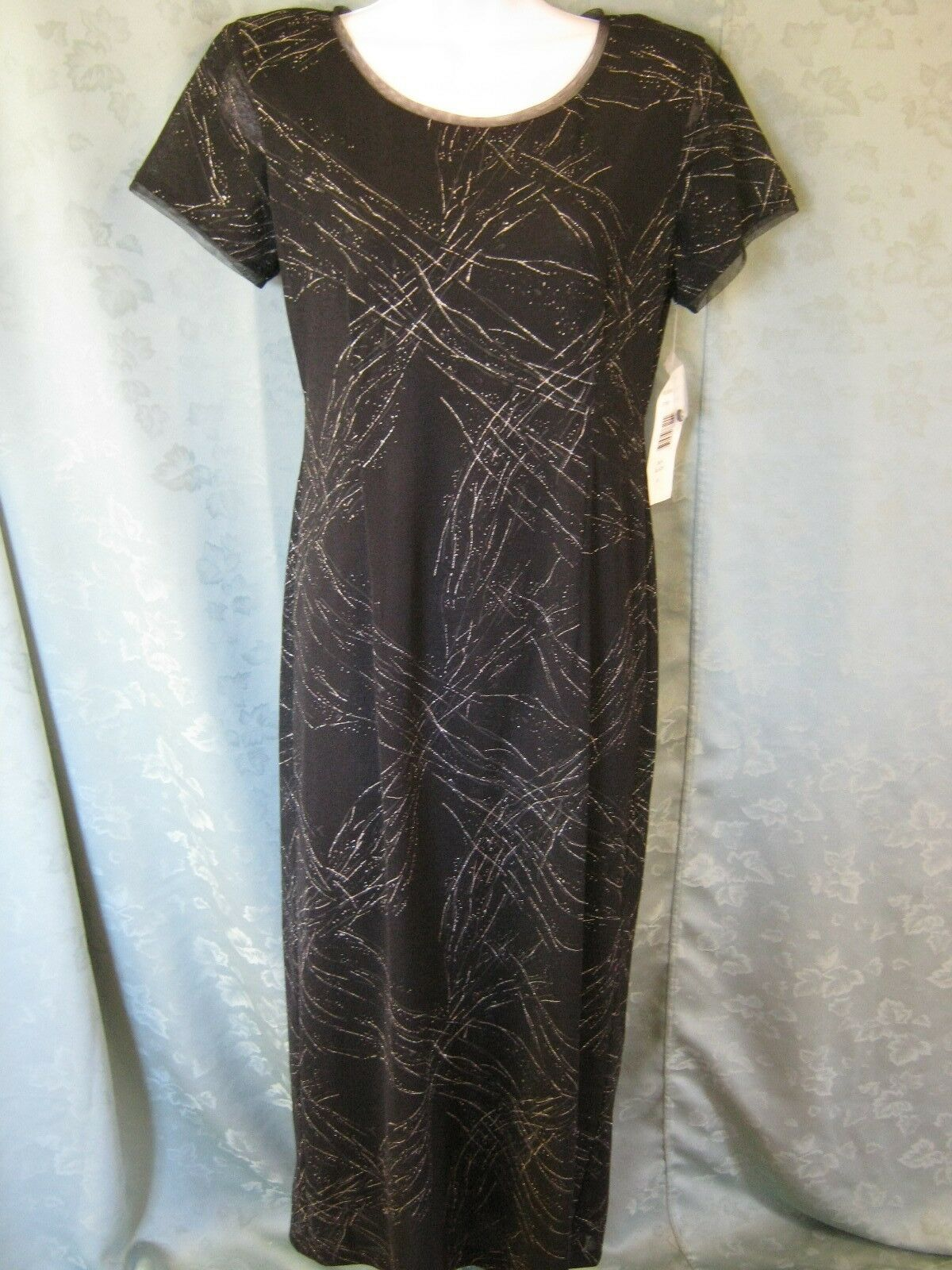 Robbie Bee Sparkly Knit Long Dress Size 10 Chaos Paint Splatter Print Sheer  NWT 4897843c8