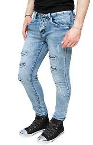Jeans-uomo-Diamond-slim-fit-in-cotone-denim-aderente-casual-skynny-con-strappi