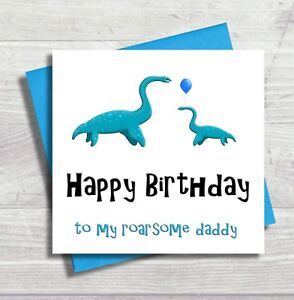 Image Is Loading Dinosaur Birthday Card Daddy Happy For