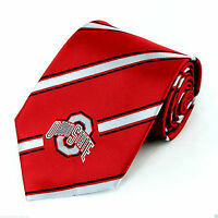 Ohio State Buckeyes Stripe Mens Necktie College University Logo Neck Tie